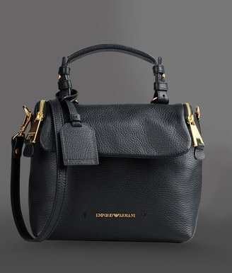 Emporio Armani Hammered Leather Bag With Detachable Shoulder Strap