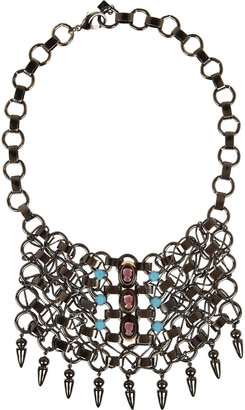 Dannijo Cameo silver-plated bib necklace