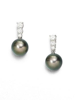 Mikimoto 9MM Black Cultured South Sea Pearl, Diamond & 18K White Gold Drop Earrings
