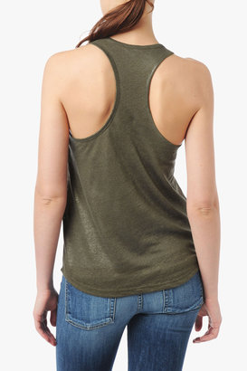 7 For All Mankind Colorblock Shimmer Tank In Olive