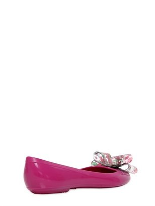 RED Valentino Rubber Ballerina Flats With Floral Bow