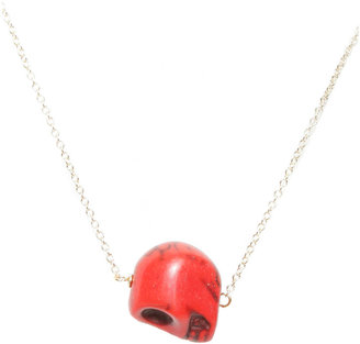 Soixante Neuf Single Sideways Red Skull Necklace
