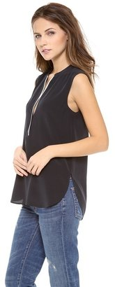 Vince Contrast Tipping Sleeveless Blouse