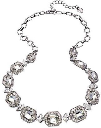 Carolee Silver and Emerald Cut Crystal Royal Redeux Collar Necklace