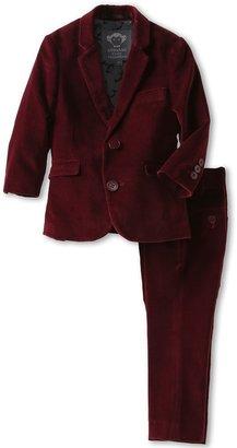 Appaman Kids - Boys' Velvet Classic Mod Suit (Toddler/Little Kids/Big Kids) (Maroon) - Apparel