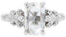 Cathy Waterman Rose Cut Oval Diamond Leafside Ring - Platinum