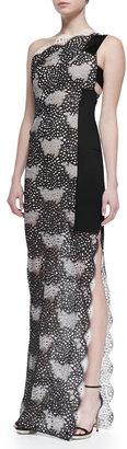 Roland Mouret Larch One-Shoulder Lace Gown