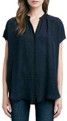 Vince Cap-Sleeve Contrast Placket Silk Blouse, Coastal/Black
