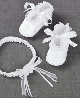 Lauren Madison Baby Girls' Headband & Shoes Christening Set $18 thestylecure.com