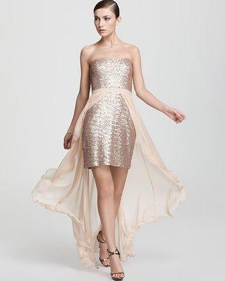 Aidan Mattox Strapless Gown - Sequin Hi Low