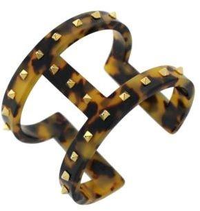 Vince Camuto Studded Tortoiseshell Print T-Bar Cuff Bracelet