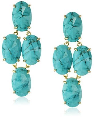 "Kendra Scott Glam Rocks"" Steph Turquoise Colored Drop Earrings"