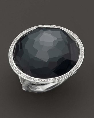 Ippolita Stella Ring in Hematite Doublet with Diamonds in Sterling Silver
