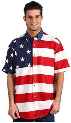 Roper Stars Stripes Pieced Flag Shirt S/S (Red) Men's Clothing