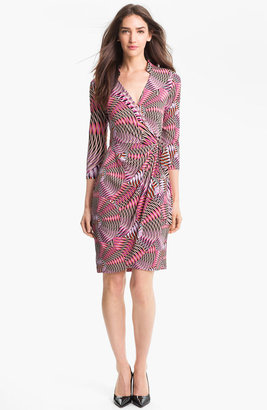 Maggy London Print Jersey Faux Wrap Dress