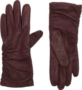 Barneys New York Women's Ruched Leather Gloves-Purple