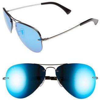 Women's Ray-Ban 59Mm Semi Rimless Aviator Sunglasses - Blue/ Green Mirror $175 thestylecure.com