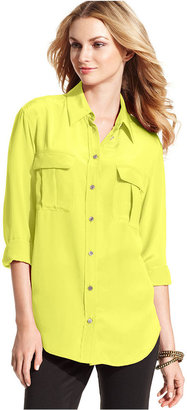 Vince Camuto TWO by Top, Long Sleeve Silk Blouse