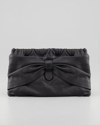 RED Valentino Valentino Red Leather Bow Clutch Bag, Black