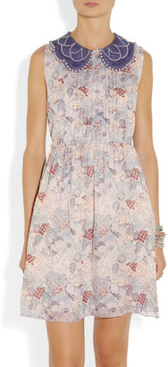 Anna Sui Embellished printed silk-chiffon dress