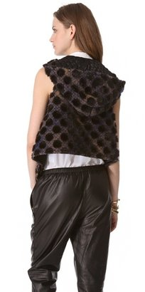 Thakoon Dot Plaid Hooded Vest