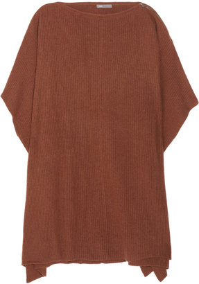 Vince Ribbed wool and cashmere-blend poncho
