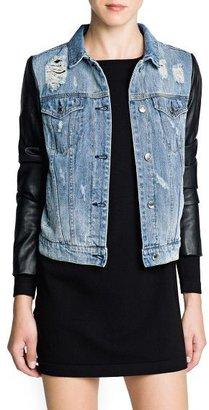 MANGO Outlet Contrast Sleeve Denim Jacket