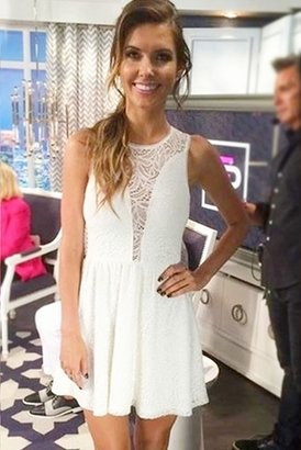 For Love & Lemons Lulu Dress in White Floral Lace $129 thestylecure.com
