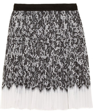 DKNY Audrey lace-print stretch-georgette skirt