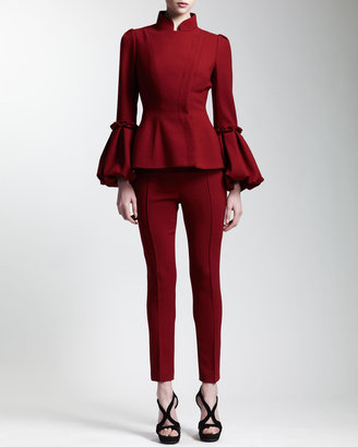 Alexander McQueen Abbreviated Pintuck Pants, Ruby