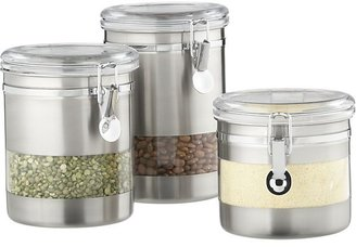 Crate & Barrel Stainless Steel Clip Canisters