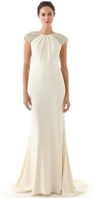 Badgley Mischka Collection Deco Cap Sleeve Gown