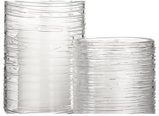 Crate & Barrel Spin Glass Hurricane Candle Holders/Vases