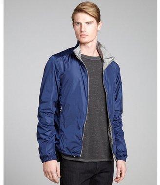 Prada navy and grey coated nylon zip front reversible wind breaker jacket