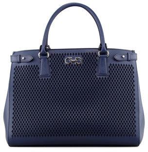 Salvatore Ferragamo Batik Laser-Cut Tote Bag, Oxford Blue