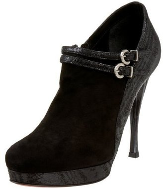 Caligarius Women's Lorena Suede And Moiree Ankle Bootie