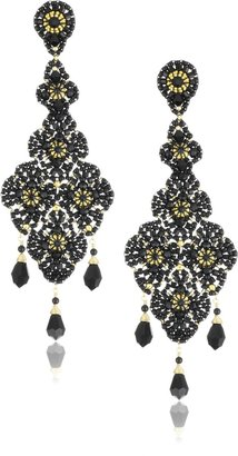 Miguel Ases Onyx and Swarovski Black Lace Beaded Grand Drop Earrings