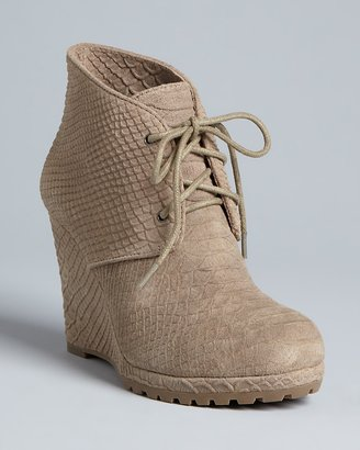 Rosegold Lace Up Wedge Platform Booties - Bevin