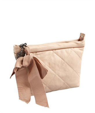 Lanvin nude quilted leather cosmetic case