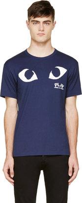 Comme des Garçons Play Navy & White Logo T-Shirt $120 thestylecure.com