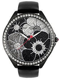Betsey Johnson Black Floral Dial Watch