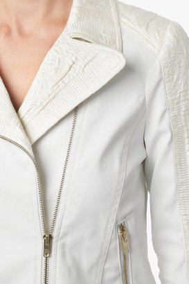 7 For All Mankind Malhia Kent: Pieced Moto Jacket In White Cathedral