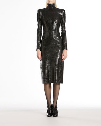 Gucci Crackled Patent Leather High-Neck Dress