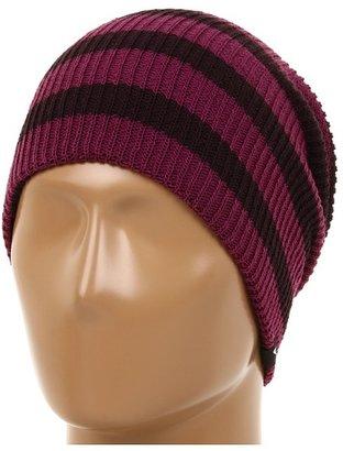 Nike Slouchy Stripe Beanie (Port Wine/Tea Berry) - Hats