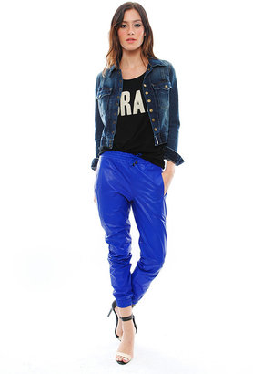 Alexis Cober Leather Track Pant in Electric Blue