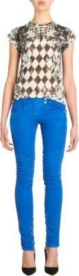 Balmain Quilted Multi-Zip Moto Jeans