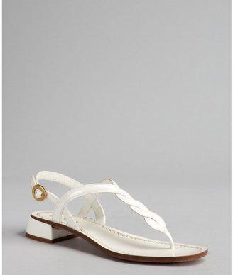 Prada white leather braided thong sandals
