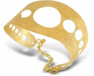 Stefano Patriarchi Golden Silver Etched Cut Out Cuff Bracelet