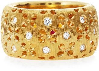 Roberto Coin Granada Large Diamond Cutout Ring, Yellow Gold, Size 6.5