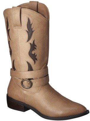 Xhilaration Women's Savanna Tall Cowboy Boot with Buckle - Tan/Brown
